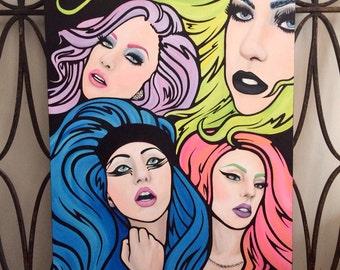 Lady Gaga Quad - 22x28 Hand-painted Original Acrylic on Canvas