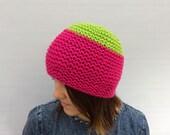 Wool Hat, Wool Beanie, Fuchsia Pink Green Beanie, Colour Blocked Hat, Funky Colour Beanie