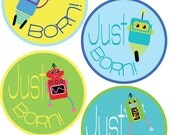 ADD ON Just Born Stickers for Baby, Just Born Stickers  - Robots - Just Born Stickers -Baby Shower Gift - Baby