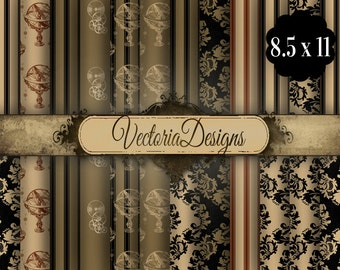 Steampunk Paper Pack 8.5 x 11 inch digital paper pack instant download digital paper printable digital collage sheet VD0691