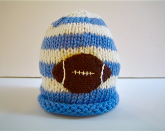 FOOTBALL Hat - knit baby hat - sports hat, knitted baby cap - infant hat - children's knit hat