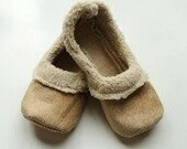 Handcrafted Sherpa Slippers - Mommy and Me Slippers - Tan Sherpa Baby Slippers - Tan Sherpa Womens Slippers - Family House Slippers