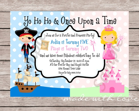 A Pirate and Princess Birthday Invitation, personalized and printable, 5x7