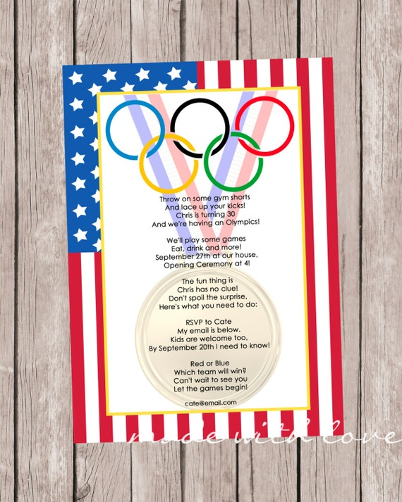 Olympic Games A Party Invitation Personalized And Printable