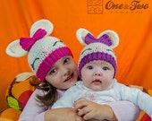 Olivia the Bunny Hat - PDF Crochet Pattern - 7 sizes ( Newborn to Adult ) - Beanie Hat Baby Child Adult Accessorie
