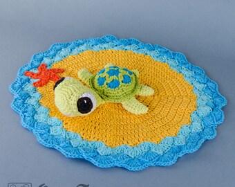 Bob the Turtle Lovey / Security Blanket - PDF Crochet Pattern - Instant Download - Blankie Baby Blanket