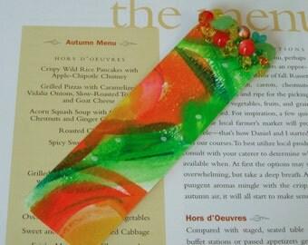 Modern Abstract Bookmark // Abstract Watercolor // Beaded // Original Art // NOT A PRINT