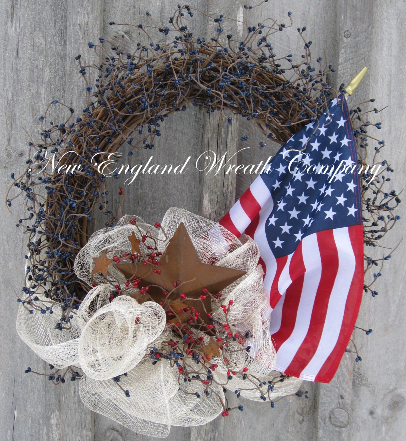 Patriotic Wreath American Flag Wreath Americana 4th Of