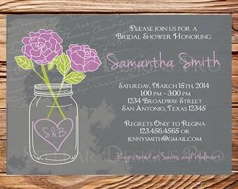 Bridal Shower Invitation, Chalkboard Mason Jar Roses, Chalkboard, Roses, Mason Jar, Pink, Purple Roses, Mason Jar Wedding Shower, 5020