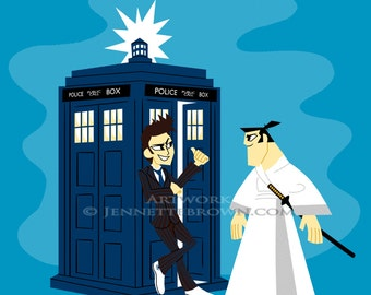 Doctor Who Tenth Doctor TARDIS Samurai Jack Fan Art Print or Poster