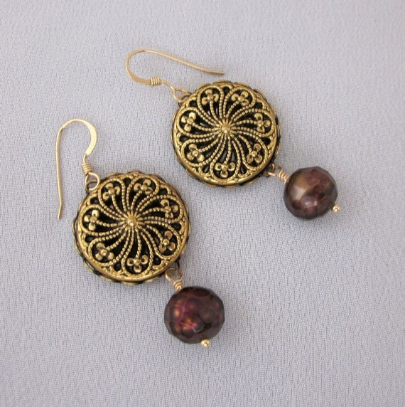Upcycled Vintage Button Dangle Earrings Chocolate Brown Pearl