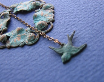 15% Off Any Order Verdigris Sparrow Lariat Necklace