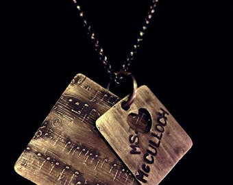 custom sheet music name pendant necklace