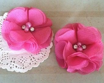 "Chiffon Flowers  PINK with rhinestones & pearl centers (4 pcs) Whitney shabby chiffon layered flowers 2.5""  Hair shoe headband"
