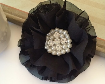 Black Fabric Flowers - 3.5' soft chiffon and sheer layered fabric flowers with rhinestone pearl centers Hair hat boutique flowers Lorna