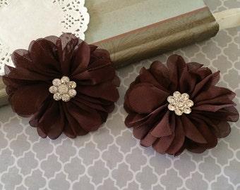 "3"" Brown Chiffon Ballerina Flowers with Rhinestone Center Scalloped edges layered Hallie flowers DIY wedding bridesmaids baby headband"