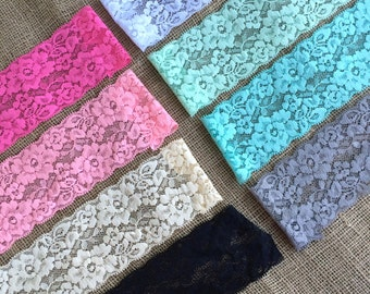 "Lace Elastic 3"" Lace Stretch Elastic 7.8cm wide elastic trim You Pick colors baby headband lace elastic garter lingerie 3, 5, OR 10 yards"