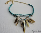 Women's Wire-wrapped Statement Necklace- Turquoise and Mother of Pearl Necklace