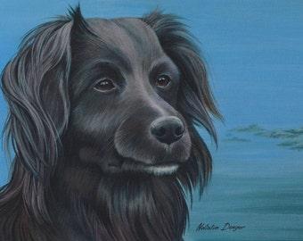 "Black Dog ORIGINAL 18x14"" Painting, Companion Dog, Animal, Face, Black, Grey, Blue Sky, Dog Portrait"