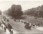 Antique Postcard Rotton Row Hyde Park London Real Photograph Street Scene Horse and Buggies Carriages Period Clothing Top Hats Canes