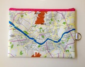Seoul Zipper pouch - printed with the map of Seoul, South Korea, Made to order
