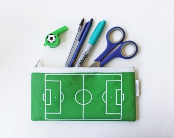 Kid's Pencil Case - zipper pouch with Soccer field / Football field pattern - the perfect Back to school gift idea
