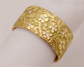 Diamond flower ring, cherry blossom ring, floral gold ring, hand carved flower ring, 18k yellow gold, diamonds