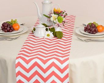 Coral Table Runner - Coral Wedding Linens - Coral Table Topper - Chevron Coral Table Runner