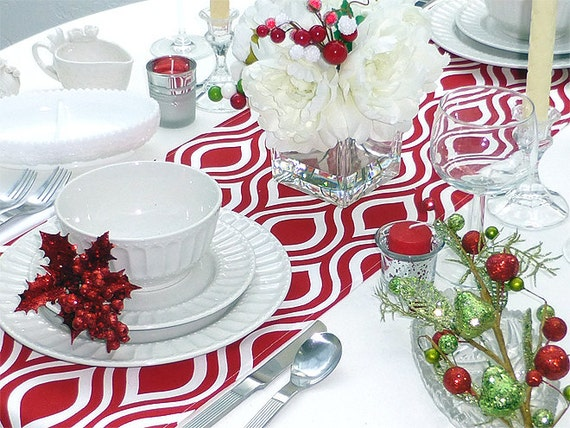 Red and White Table Runner - Premier Prints Nicole Red - All Sizes - Table Linens- Home Decor- Dinner Party, Holiday, Wedding- Linens