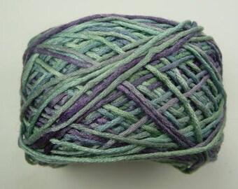 100% (color Wisteria)Silk yarn from Kaalund yarns of Australia.