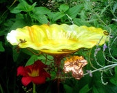 GARDEN BIRD BATH, Birdbath, stained glass, copper art, fused glass, Yellow, 7 in. diameter