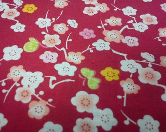 Butterfly and Japan Cherry, red, fat quarter, pure cotton fabric