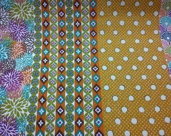 SALE - 8 Japanese patterns, mustard yellow, fat quarter, pure cotton fabric