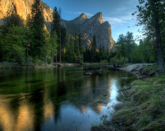Yosemite National Park, Three Brothers, Landscape Photograph, Merced River, El Capitan, Wall Art, Home Decor, Reflection, Morning Light