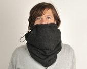 Snock®, mens cowl in charcoal mini rib knit with very soft grey fleece lining - vegan (snood, neckwarmer, scarf, cowl, tube scarf, circle)