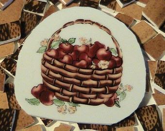 Mosaic Tiles Apple Basket Golden & Brown Weave DBL Sided Lot 1 FREE SHIPPING Tesserae Handmade Cut Dinnerware Plates Flowered Mosaics