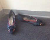 J. RENEE Suede/Snakeskin Wedge Shoes Avant Garde Black Red Green Purple Yellow//80s does 40s low heel / Rosette  Shoes / Mesh shoes  -  8.5N