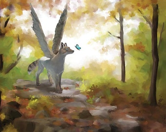 Fantasy Winged Fox in Forest magical illustration art print - Brandy Woods