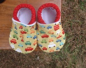Baby Shoes for Boys - Red, Orange, Blue and Green Car Print - Custom Sizes 0-3 3-6 6-12 12-18 18-24 months 2T 3T 4T