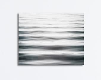 "Black and White Abstract Canvas Print, water ripples grey gray ocean large wall art sea beach photo waves lake canvas gallery wrap, ""Let Go"""