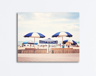 "Beach Canvas Photography - blue navy beige light brown umbrellas boardwak cream large seashore wall art nautical seaside - ""Daily Rentals"""