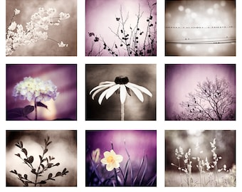 Purple, Brown Photography Set - plum dark violet beige 9 nine nature photographs botanical prints modern gallery wall photos branch pictures