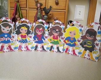 Super Girls Gable Favor Boxes Set of 12