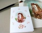 Carte de souhaits. Impression d'art aquarelle. Art animalier. Magicien d'oz drôle carte de voeux. Cadeau d'amant de livre. Carte de note animale. Art de lion.
