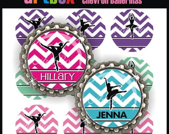 Editable Chevron Ballerinas Bottle Cap Images - 4x6 Digital JPEG File Collage Sheet - BottleCap One Inch Circles for Pendants, Hair Bows