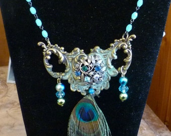 Peacock Passion OOAK Handmade Necklace
