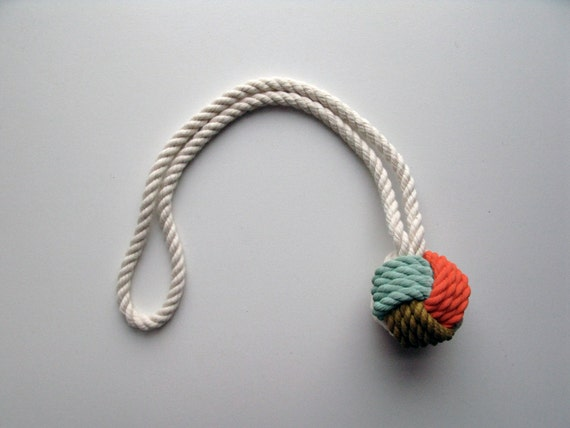 Coral, Seafoam & Gold Painted Monkey's Fist Knot - Small