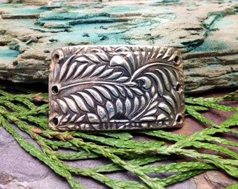 Artisan Silver Precious Metal Clay Botanical Bracelet Cuff