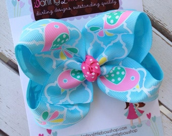 Aqua Bow -- Tweet Tweet Birdie -- perfect for Spring and Easter -- pink, white, mint, yellow, aqua