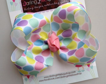 Pastel Polka Dot Bow -- made with our Exclusive ribbon -- perfect for Spring and Easter -- pink, white, mint, lavender, aqua